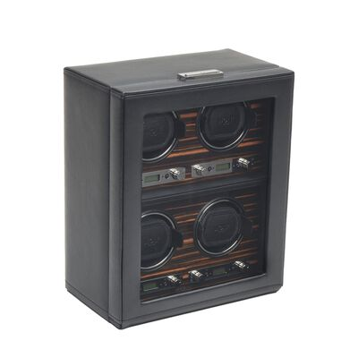 """Roadster"" Black and Ebony Macassar Quadruple Watch Winder by Wolf Designs, , default"