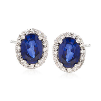 2.00 ct. t.w. Sapphire and .30 ct. t.w. Diamond Earrings in 14kt White Gold, , default