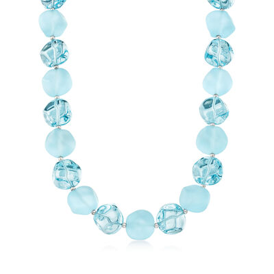 Italian Aqua Blue Murano Glass Bead Necklace with Sterling Silver
