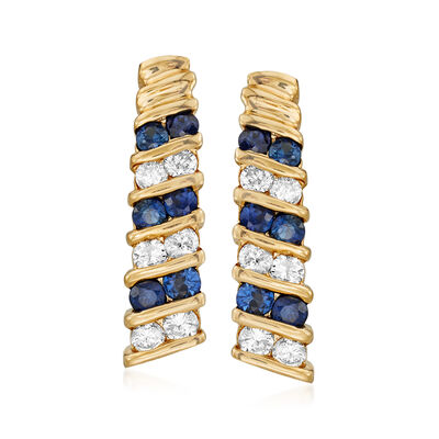 C. 1980 Vintage 1.00 ct. t.w. Sapphire and .50 ct. t.w. Diamond Earrings in 14kt Yellow Gold, , default
