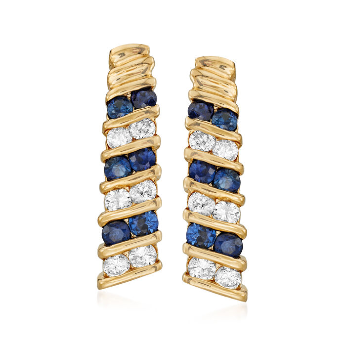 C. 1980 Vintage 1.00 ct. t.w. Sapphire and .50 ct. t.w. Diamond Earrings in 14kt Yellow Gold