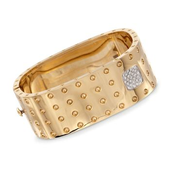 """Roberto Coin """"Pois-Moi"""" .40 ct. t.w. Diamond Square Bangle Bracelet in 18kt Yellow Gold. 7"""", , default"""