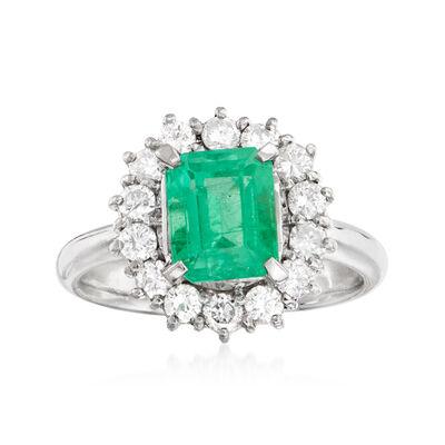 C. 1990 Vintage 1.82 Carat Emerald and .66 ct. t.w. Diamond Ring in Platinum
