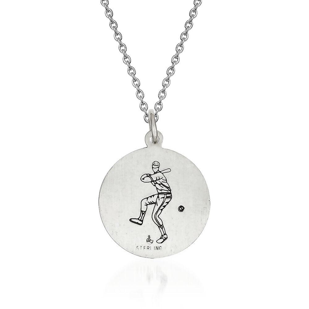 Sterling Silver Antiqued St Christopher Baseball Medal