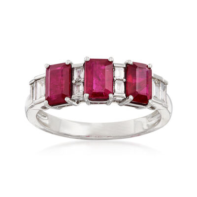 1.70 ct. t.w. Ruby and .27 ct. t.w. Diamond Ring in 14kt White Gold, , default