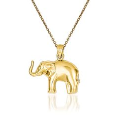 "14kt Yellow Gold Elephant Pendant Necklace. 18"", , default"