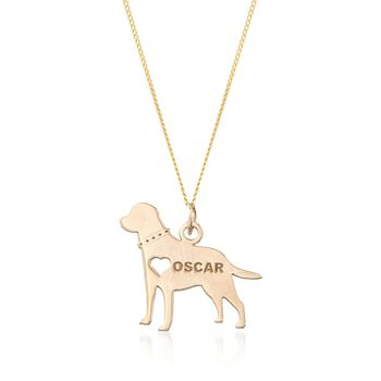 "18kt Yellow Gold Over Sterling Silver Labrador Name Pendant Necklace. 18"", , default"
