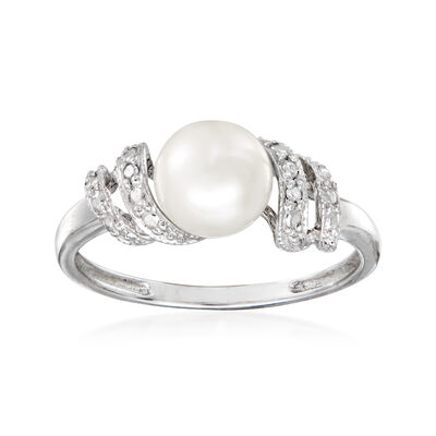 C. 1990 Vintage 7mm Cultured Pearl Ring with Diamond Accents in 10kt White Gold, , default