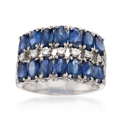 C. 1990 Vintage 3.50 ct. t.w. Sapphire and .15 ct. t.w. CZ Ring in 18kt White Gold, , default