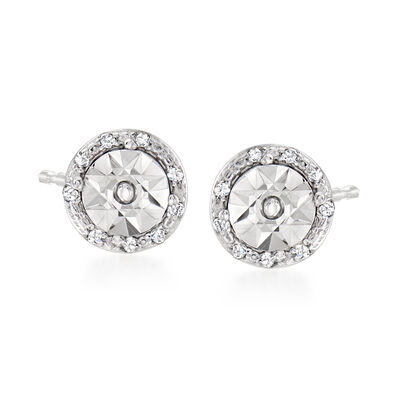 .10 ct. t.w. Diamond and Sterling Silver Stud Earrings