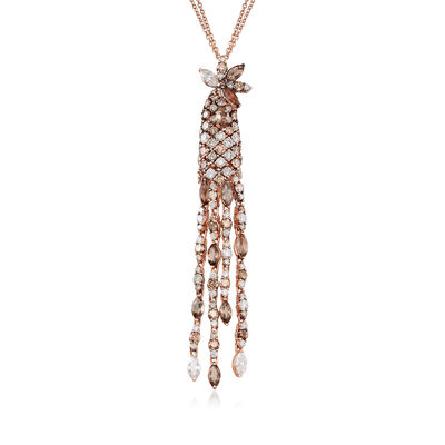 C. 1990 Vintage Stefan Hafner Diamond Drop Necklace in 18kt Rose Gold, , default