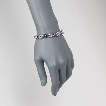 """C. 1960 Vintage 5.00 ct. t.w. Sapphire and 3.25 ct. t.w. Diamond Floral Bracelet in Platinum. 7"""", , default"""