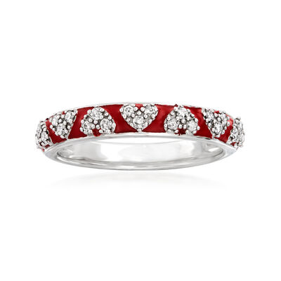.20 ct. t.w. Diamond and Red Enamel Heart Ring in Sterling Silver