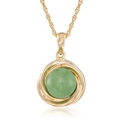 "Green Jade Love Knot Pendant Necklace in 14kt Gold Over Sterling. 18"", , default"