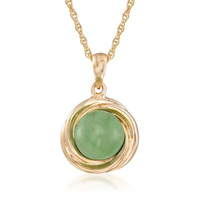 Green Jade Love Knot Pendant Necklace in 14kt Gold Over Sterling, , default