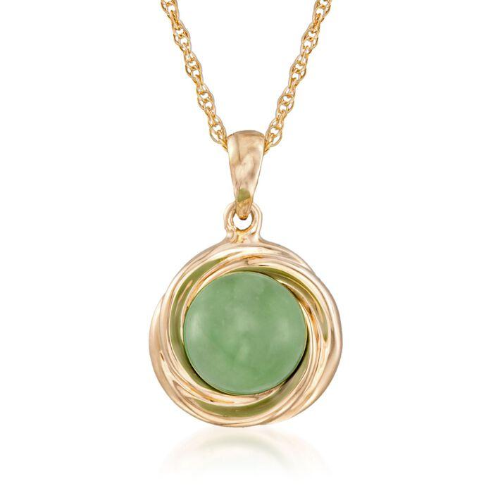 "Green Jade Love Knot Pendant Necklace in 14kt Gold Over Sterling. 18"", , default"