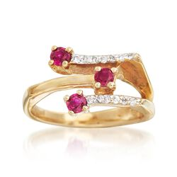 .40 ct. t.w. Ruby and .15 ct. t.w. Diamond Bar Ring in 18kt Yellow Gold, , default