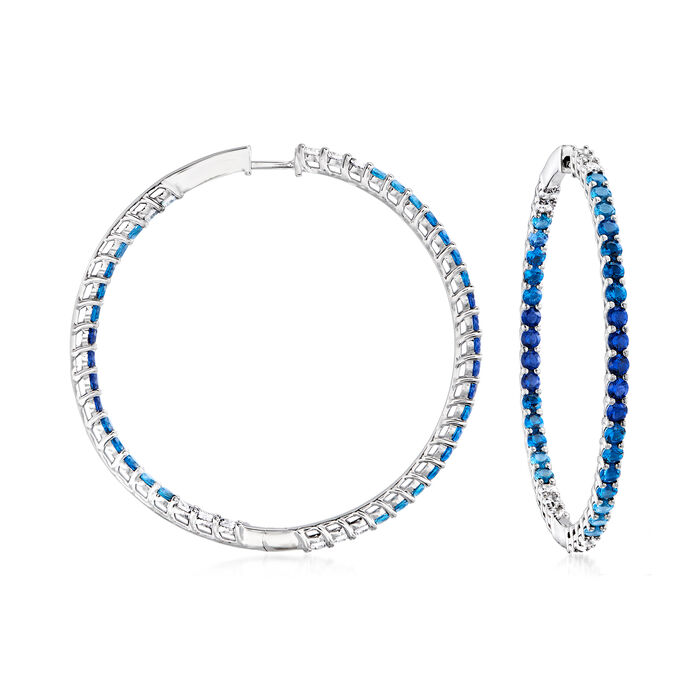 4.80 ct. t.w. Simulated London Blue Topaz, 2.20 ct. t.w. CZ and 1.80 ct. t.w. Simulated Sapphire Hoop Earrings in Sterling Silver