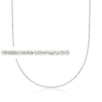 """Italian 1mm 14kt White Gold Adjustable Slider Crisscross Chain. 22"""", , default"""