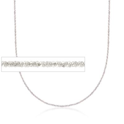Italian 1mm 14kt White Gold Adjustable Slider Crisscross Chain, , default