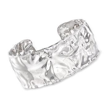Italian Sterling Silver Hammered Cuff Bracelet, , default