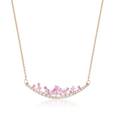 .50 ct. t.w. Pink Sapphire and .29 ct. t.w. Diamond Curved Bar Necklace in 14kt Rose Gold, , default