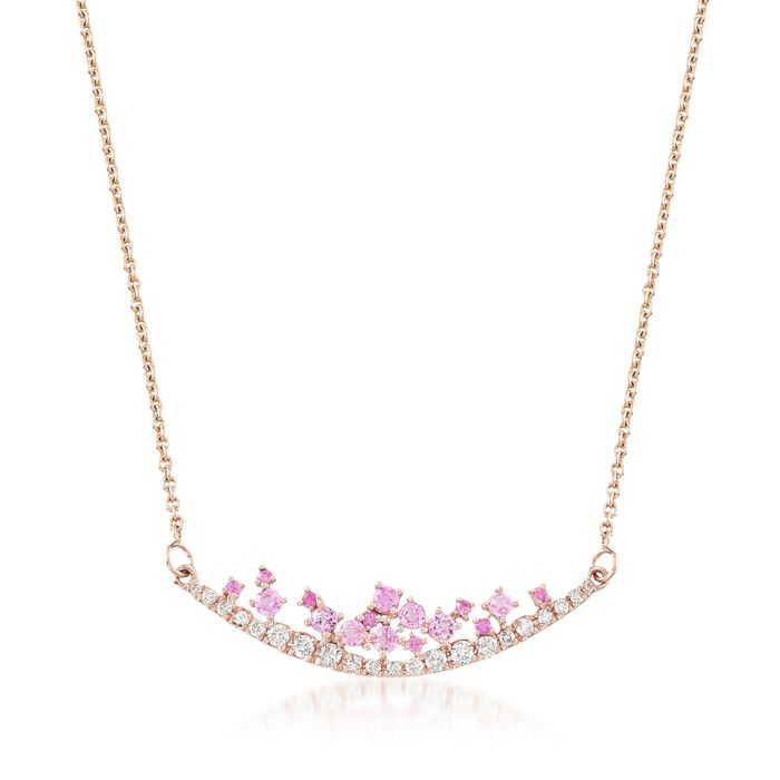 """.50 ct. t.w. Pink Sapphire and .29 ct. t.w. Diamond Curved Bar Necklace in 14kt Rose Gold. 16"""", , default"""