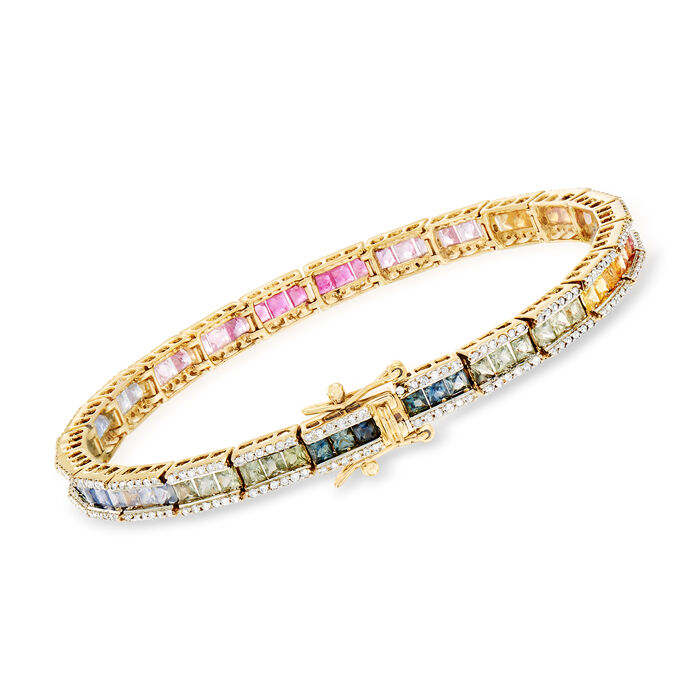 7.00 ct. t.w. Multicolored Sapphire and 1.15 ct. t.w. Diamond Bracelet in 14kt Yellow Gold