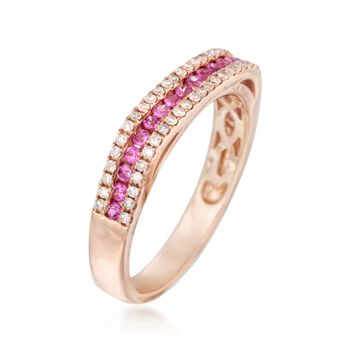 .30 ct. t.w. Pink Sapphire and .21 ct. t.w. Diamond Ring in 14kt Rose Gold, , default