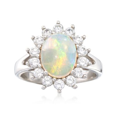 Opal and .90 ct. t.w. White Zircon Ring in Sterling Silver
