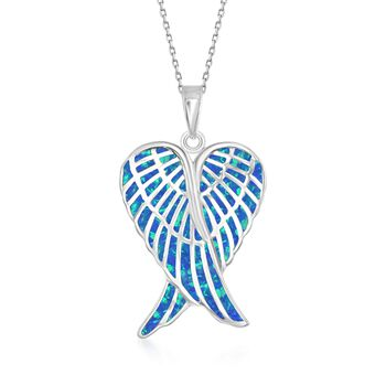 "Blue Synthetic Opal Angel Wings Pendant Necklace in Sterling Silver. 18"", , default"