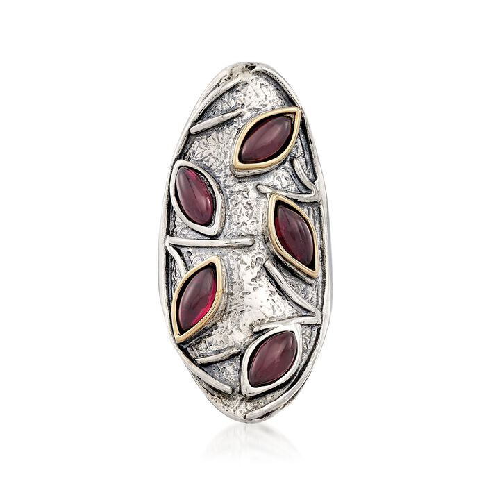 3.60 ct. t.w. Marquise Garnet Knuckle Ring in Sterling Silver and 14kt Gold