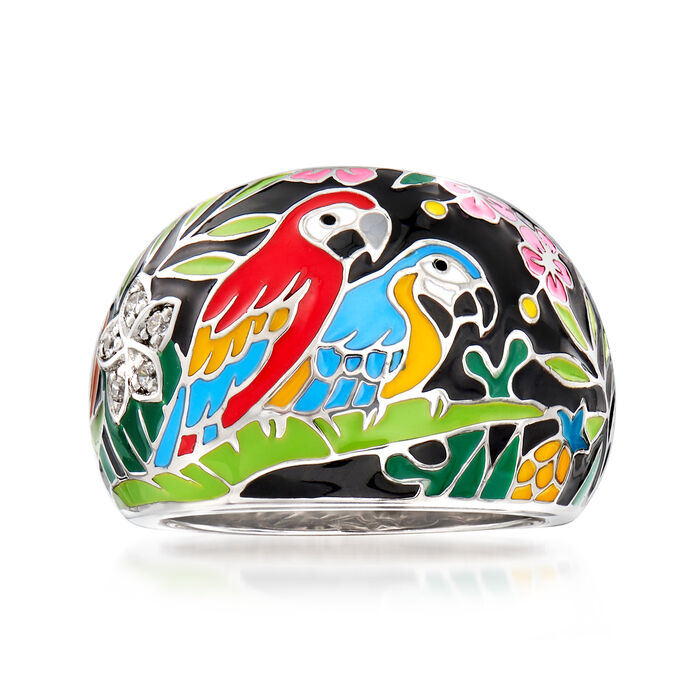 """Belle Etoile """"Macaw"""" Multicolored Enamel and .12 ct. t.w. CZ Ring in Sterling Silver. Size 7, , default"""