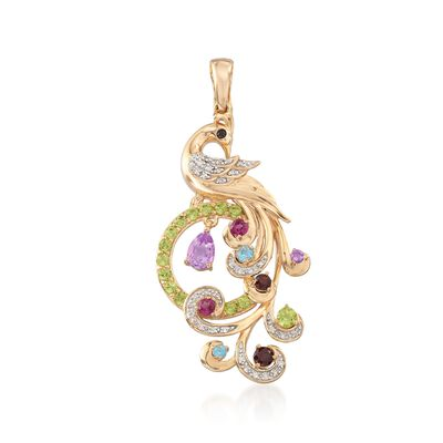1.42 ct. t.w. Multi-Stone Peacock Pendant in 18kt Yellow Gold Over Sterling Silver, , default