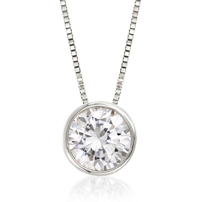 1.00 Carat Bezel-Set Diamond Solitaire Necklace in 14kt White Gold, , default