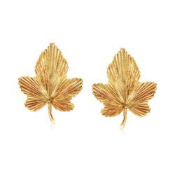 C. 1980 Vintage Tiffany Jewelry 18kt Yellow Gold Maple Leaf Earrings , , default