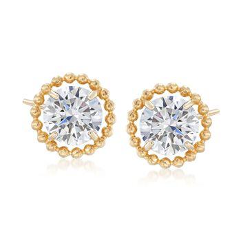 4.00 ct. t.w. CZ Stud Earrings in 14kt Yellow Gold, , default