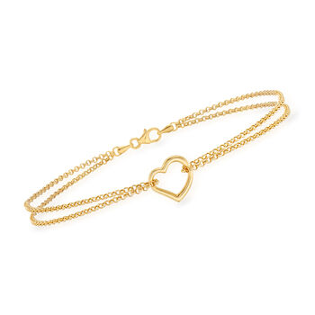 14kt Yellow Gold Two-Strand Heart Center Anklet. 10""
