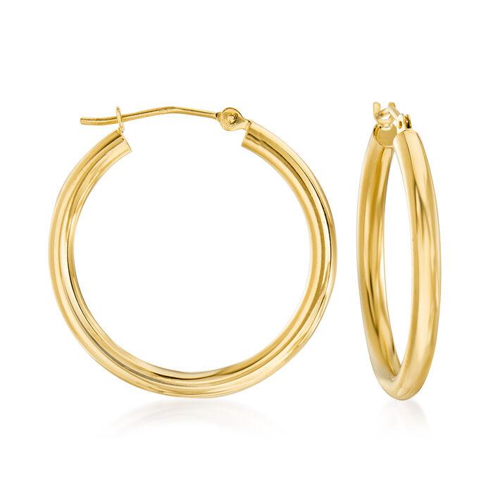"""2.5mm 14kt Yellow Gold Hoop Earrings. 1"""""""