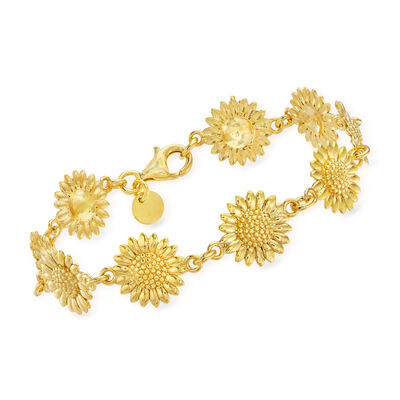 Italian 18kt Gold Over Sterling Sunflower Bracelet
