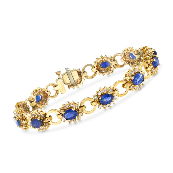 """C. 1975 Vintage 6.70 ct. t.w. Sapphire and 1.80 ct. t.w. Diamond Bracelet in 14kt Yellow Gold. 7"""""""