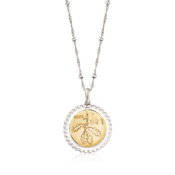 "Italian Genuine 20-Lira Coin Pendant Necklace in Sterling Silver. 18"", , default"