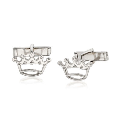 C. 1970 Vintage Men's Crown Cuff Links in 14kt White Gold , , default