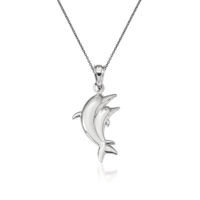 14kt White Gold Dolphin Pendant Necklace, , default