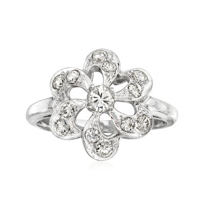 C. 1970 Vintage .50 ct. t.w. Diamond Flower Ring in 14kt White Gold