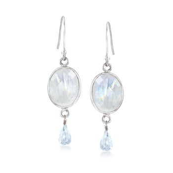 White Moonstone and 2.40 ct. t.w. Blue Topaz Drop Earrings in Sterling Silver , , default