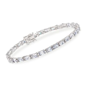 7.50 ct. t.w. Baguette CZ Tennis Bracelet in Sterling Silver, , default