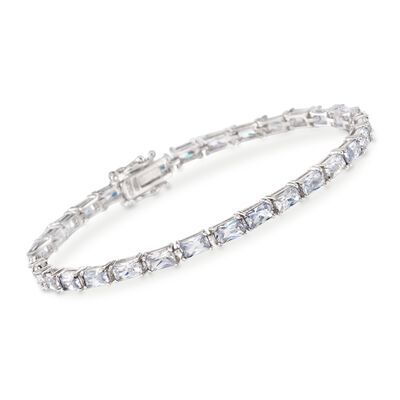 7.50 ct. t.w. Baguette CZ Tennis Bracelet in Sterling Silver, , default