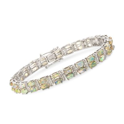Ethiopian Opal and .90 ct. t.w. White Zircon Tennis Bracelet in Sterling Silver, , default