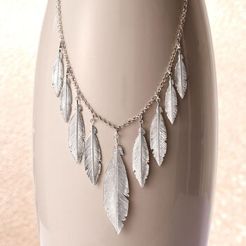 "Italian Sterling Silver Feather Fringe Necklace. 18"", , default"